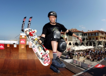 Sep 20, 2008; Hossegor, FRANCE; Tony Hawk (USA) performs during the 2008 Quiksilver Pro France in Hossegor. Mandatory Credit: Luttiau/Presse Sports via US PRESSWIRE